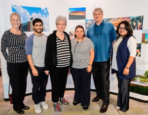 Six people posing, both donors and student recipients